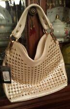 Pearlized Off White Snakeskin Print Gold Stud Jewels Handbag Crossbody Bag. NWT.