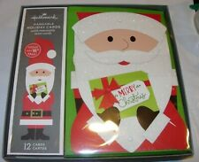 "12 Christmas Cards & Envelopes Hallmark Hangable Santa Claus 16"" Tall Holiday"