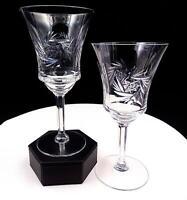"BRILLIANT CUT CRYSTAL BUZZSAW & VERTICAL CUTS PANELED STEM 2 PC 7"" WINE GLASSES"