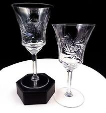 "BRILLIANT CUT CRYSTAL BUZZSAW & VERTICAL CUTS PANELED STEM 2 PC 7"" WINE GLASSES"