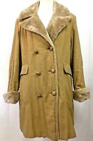 Vintage Davis Of Boston Jonathan Logan Womens Coat Jacket Faux Fur Lined Beige L