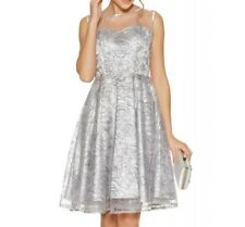 £65 QUIZ Grey Silver Sequin Mesh Party Prom Evening Skater Dress Size 8-16