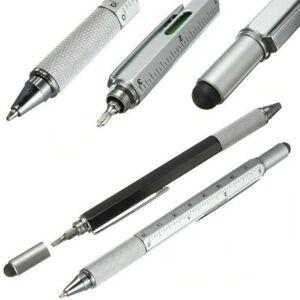 Handy-Man DIY Stylus Built-In Ballpoint Pen Screwdriver Ruler Spirit Level Black