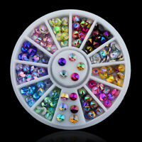 3D Acrylic Nail Art Tips DIY Decoration Glitter Rhinestones Gems Crystal Wheel.