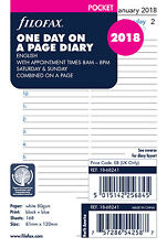 Filofax Pocket Day Per Page English Appointments 2018 Diary Refill 18-68241