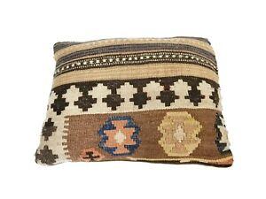 Geometric Kilim Pillow One-of-a-Kind Handmade Vintage Velvet Feather Filler