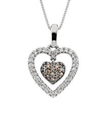 Diamond Heart Necklace 14K White Gold Chocolate Brown & White Diamond Pendant