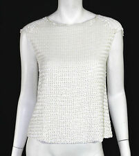DRIES VAN NOTEN White Sequin Geometric Striped Silk Sleeveless Top 38