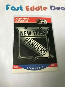 PRO SET NHL HOCKEY 1990 NEW YORK RANGERS TEAM FACTS CARD 578 EXCELLENT