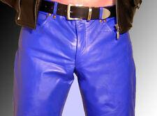Pantalons bleues en cuir pour motocyclette