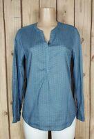 DOCKERS Womens Size Medium Long Sleeve Shirt Vneck Geometric Print Blue Top
