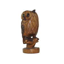 "7"" Wooden Owl on a Perch Hand Carved Ornament Home Decor."