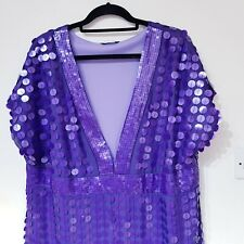 Gorgeous Purple Sequin Evening Dress by South UK 20 Chiffon Party Occasion