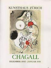 """1989 VINTAGE """"CHAGALL KUNSTHAUS ZURICH"""" MOURLOT MINI POSTER COLOR Art Lithograph"""