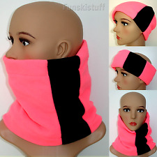 Neck Warmer NEON PINK BLACK NECK WARMER Hi Viz fleece scarf ski ladies running