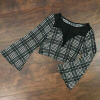 Sexy Grunge Punk See-through Plunge Cropped Houndstooth Plaid Top Size Small