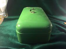 Green Enamelware Hinged Covered Bread Box Bin with Handle ~ Vintage