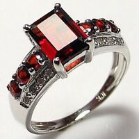 Classic Size 7 Band Red Garnet 18K Gold Filled Fashion Woman's Engagement Ring