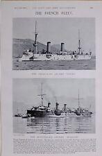1897 BOER WAR FRENCH NAVY 3RD CLASS CRUISER LINOIS 2ND CLASS CRUISER BUGEAUD
