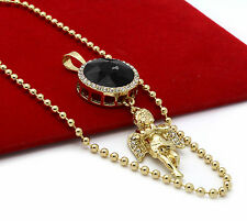 """Mens Gold Plated Simulated Black Round Ruby Angel Pendant Hip-Hop 27"""" Ball Chain"""