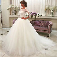 Lace Ball Gown Wedding Dresses Crystal Sash Scoop Neck 3/4 Sleeve Wedding Gowns