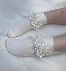 Girls Cream Frill Socks, Bow & Pearl Detail, Flower Girl, Wedding, Christening