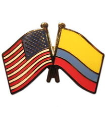 Colombia Friendship with USA Flag Lapel Badge Pin