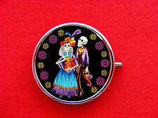 DAY OF THE DEAD SKELETON 2 RING TRINKET STASH ROUND MINT METAL PILL BOX CASE