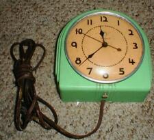 Vintage 1950's Warren Telechron Art Deco Jadeite Green Electric Wall Clock WORKS