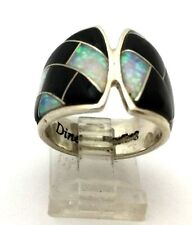 Southwestern Sterling Silver Multi-Stone Inlay Ring. Signed Dine'