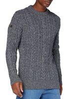 Superdry Wool Blend Jacob Crew Neck Knit Pullover Jumper Sweater Basalt Grey