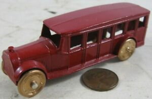 Antique 1920's-30's Tootsie Toy Lead Wheels Red Bus