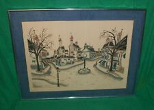 VTG TOM WOOD JACQUEST SERIGRAPH FRENCH VILLAGE ART GALLERIE MCM MODERN RETRO ART