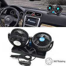 HX-T303 DC12V Dual Fan 360° Rotating Mini For Auto Car Air Fan Cooler Quiet