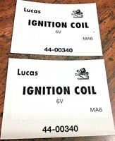 Lucas lion 6 & 12 Volt ignition coil stickers Norton Triumph BSA Enfield, set 4