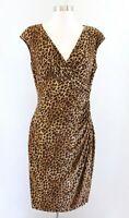 Lauren Ralph Lauren Leopard Cheetah Print V Neck Ruched Wiggle Dress Size 6