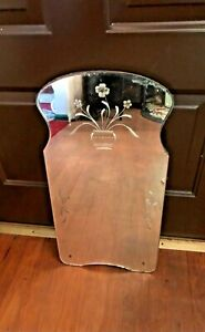 """Vintage 1940s Etched Floral Mirror Wall Hanging 24""""x12""""x1""""  Rare Hourglass Shape"""