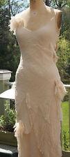Deconstructed ivory silk chiffon bias cut slip dress w/ beading - size 6
