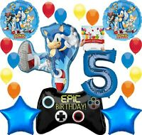 Sonic Party Supplies Video Gamers 5th Birthday Balloon Decoration Bundle