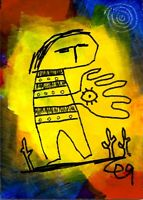 21021746 e9Art ACEO Eye Abstract Figurative Outsider Art Brut Visionary Folk ATC