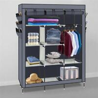 Portable Closet Fabric Wardrobe Clothes Rack Storage Space Organizer With Shelf