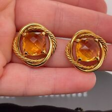 David Yurman 18k Gold Infinity Citrine Earrings / 21mm Vintage