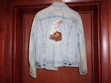 1970s LEVI JACKET WITH HAND EMBORDAIRED EAGLE BUST.  SIZE 40