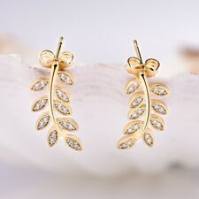 Stunning Engagement Jewellery White Cubic Zirconia CZ Gold Leaf Stud Earrings