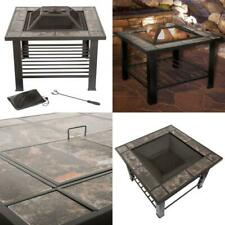 Pure Garden Fire Pit 30 Inch Wood Burning Square Steel Table Spark Cover Outdoor