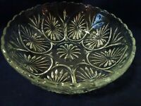 "8"" CLEAR GLASS SERVING BOWL-NEW REPRODUCTION-SCALLOPED EDGES-2 1/2"" DEEP"