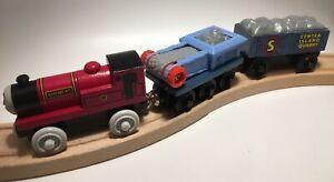 Thomas Wooden Railway Rheneas 2003 Rock Crusher Cars CONVEYOR BELT Train Set Lot