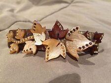Alexandre De Paris brown crystal leaf gold tone barrette