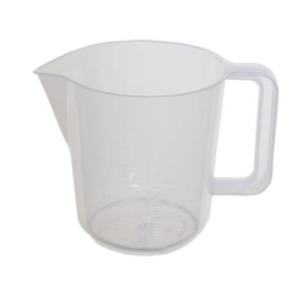 2 Pint Measuring Jug Clear Plastic Full Handled By Whitefurze