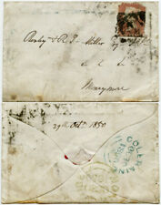 IRELAND 1850 MONEYMORE in GREEN + COLERAINE in BLUE on SMALL ENVELOPE QV 1d RED